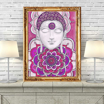 Zen Buddhist Art Wall Decor, Buddha Mandala painting, Peaceful Buddha Large Print, Buddha  Yoga Meditation Wall Art, Zentangle Trippy Art