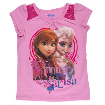 Frozen - Anna & Elsa Sequin Toddler Sequin Shoulder T-Shirt