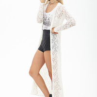 FOREVER 21 Floral Lace Maxi Cardigan