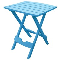 Pool Blue Folding Side Table in Durable Patio Furniture Plastic Resin