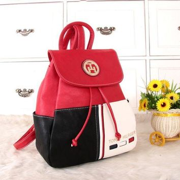 LMFON Tommy Hilfiger' Personality Casual Fashion Multicolor Backpack Women Double Shoulder Bag