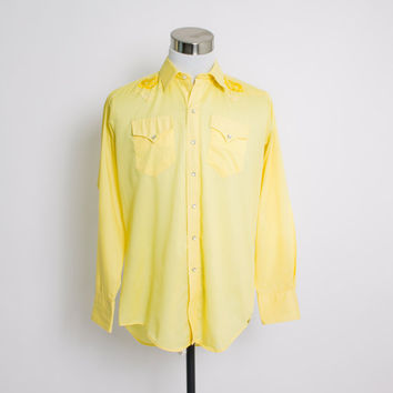 Vintage 70s Western Shirt - Rockmount Ranch Wear Yellow Cotton Blend Rose Embroidered 1970s- Medium
