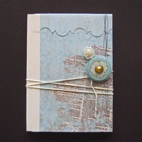 French Rose Pocket Jotting Journal paper sketch writing blue yellow flower rose button tie pearl text