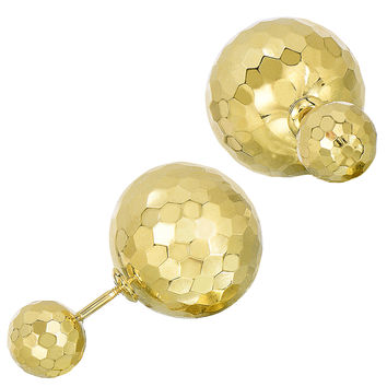 14K Yellow Hammered Finish Gold Front And Back Double Ball Stud Earrings - 8mm And 12mm Balls