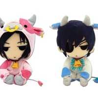Set of 2 Great Eastern Black Butler Plush Dolls - Sebastian Cow & Ciel Cow