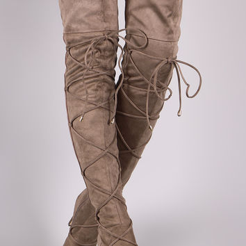 Liliana Suede Pointy Toe Lace-Up Stiletto Over-The-Knee Boots | UrbanOG