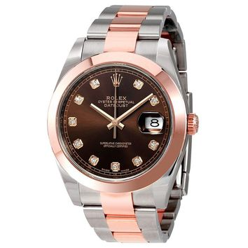 Rolex Datejust 41 Chocolate Diamond Dial Steel and 18K Rose Gold Mens Watch