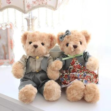 Kawaii Teddy Bear Plush Toys Couple Bears in Clothes Soft Stuffed Dolls Gift for Kids Friends Lovers High Quality 1 Pair 30cm