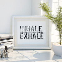 LANDSCAPE PRINT Inhale Exhale Yoga Print Relaxation Quote Breathe Print Yoga Poster Meditation Yoga Wall Art Home Decor Wall Decor YOGA Art