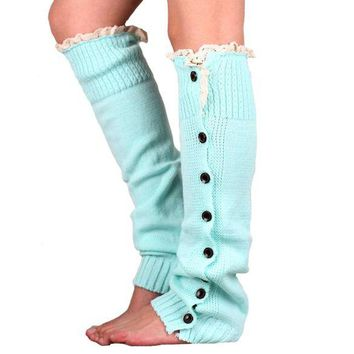 DCCKFC8 Article straight leg warmers buckle lace knitting leg warmers set of legs