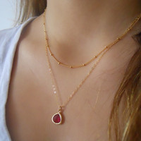 Layered Gold Necklace Set - PICK YOUR COLOR  - Gold Framed Crystal and Satellite Chain