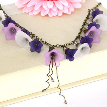Purple Lucite Flower Necklace Handcrafted Beaded Statement Crystal Chain