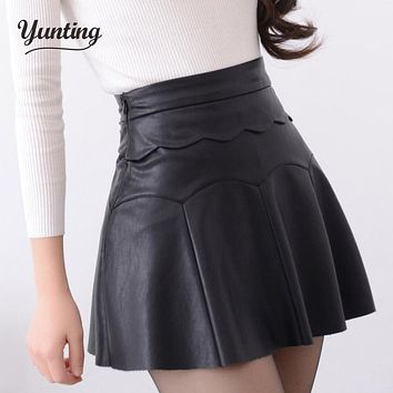 2017 Autumn Vintage Women Fashion Korean Sexy Pleated Skirt  High Waist Black Red PU Leather Skirts Vintage Short Mini Skirts