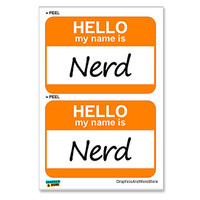 Nerd Hello My Name Is - Sheet of 2 Stickers