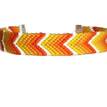 Orange & Yellow Chevron Ombre/Gradient Friendship Bracelet with Silver Clasp