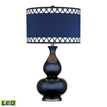 D2516-LED Heathfield Glass LED Table Lamp in Navy Blue