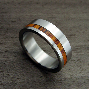 Titanium and Wood wedding ring -- Offset Rosewood Stripe