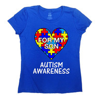 Autism Awareness T Shirt Mom Shirt Dad TShirt Autism Speaks Autism Spectrum Puzzle Piece Autism Support For My Son Mens Ladies Tee - SA1037