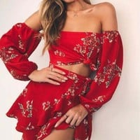 Spring Summer Trending Women Stylish Sexy Chiffon Red Flower Print Off Shoulder Long Sleeve Shorts Skirt Two Piece