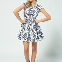 White A-Line Dress with Blue & Black Print & Capped Sleeves
