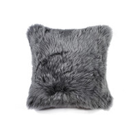 "18"" x 18"" New Zealand Grey Sheepskin Pillow"