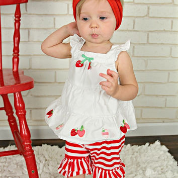 Red & White Stripes Double Ruffle Shorties Shorts - Toddler & Girl Sizes!