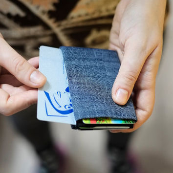 2x Leather Wallet + Denim Wallet, Minimalist Wallet, Womens Leather Wallet, FULL RFID protection