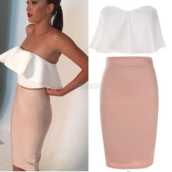 Women Fashion Sexy Elegant Two Pieces Strapless Sleeveless Backless Ruffle Crop Tops and Solid Pencil Skirt Set 7_S = 1913410756