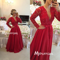 2016 Red Deep V Neck Long Sleeves Beaded Prom Gown With Sheer Back