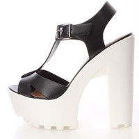 Black White Chunky T-strap Heel Faux Leather
