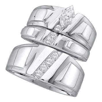 14k White Gold Marquise Diamond Solitaire Women's Men's Matching Trio Wedding Bridal Set 1/4 Cttw - FREE Shipping (US/CAN)