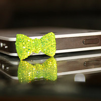 Lime Crystal Bow iPhone Plug