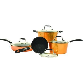 Starfrit(R) 030915-001-0000 The ROCK by Starfrit(R) 8-Piece Copper Cookware Set with Bakelite Handles