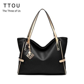 TTOU Women Tassel Casual Tote Elegant Ladies Handbag Pu Leather Shoulder Bag Large Capacity Hand Bag Commuter Bag Female