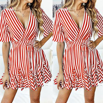 Spring and summer fashion printed striped lace short-sleeved women's dress(Only 1 piece)