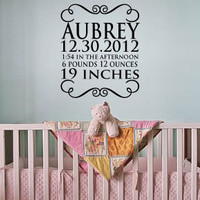 Baby name, birth day, time, weight and length vinyl wall art decal personalized FREE, for baby nursery or kid's rooms