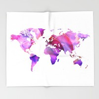 World Map 20 Pink and Purple by Sharon Cummings Throw Blanket by Sharon Cummings | Society6