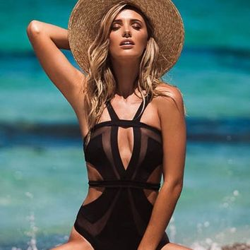 Black Patchwork Grenadine Backless Cut Out High Waisted Bikini Swimwear