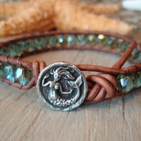 "Mermaid leather wrap bracelet ""Enchanted Mermaid"", teal steel blue, pewter mermaid,  distressed brown leather, beach boho surfer chic"