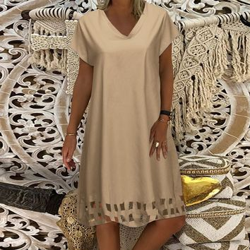 Women Summer Dress Solid V-Neck Short-Sleeve Cotton And Linen Loose Dress Casual dresses woman party night vestidos verano 2019
