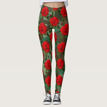 Camo Red Rose Print Leggings
