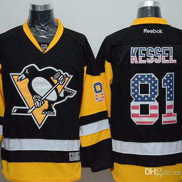 Penguins #81 Kessel USA Flag Hockey Jereys Premier Jersey Brand Hockey Apparel Professional Hockey Uniform 2016 New Style Fashion Jerseys