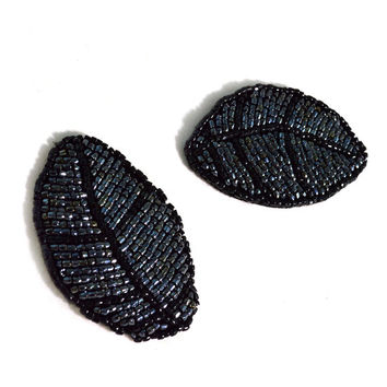 Set of Two Black Beaded Leaf Appliques