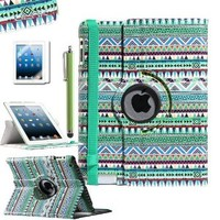 ULAK 360 Degree Rotating Protective Synthetic PU Leather Stand Smart Case Cover with Wake and Sleep Function for Apple iPad 2 3 4 (Green Tribal)