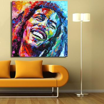 HDARTISAN Bob Marley Portrait Oil Painting Acrylic on Canvas Art Prints for Living Room Home Decoration No Framed
