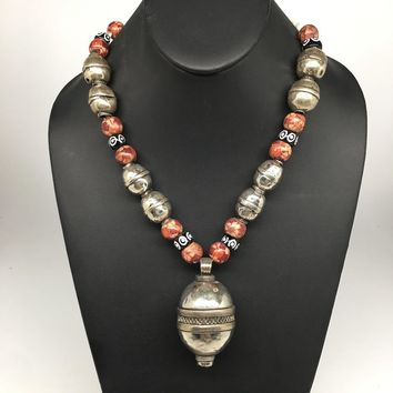 "68.4g, Double Round Metal Wood Beaded Turkmen Necklace @Afghanistan, 25"", TN156"
