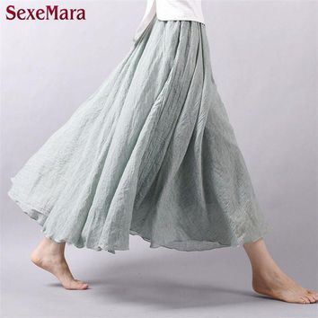 High Quality 2016 Summer New Vintage Bohemia Cotton Linen Pleated Women Boho Floor Length Long Maxi Tulle Beach Skirt