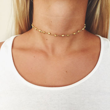 Geometric Gold Beaded Choker Necklace