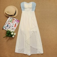 Cowboy splicing chiffon dress | Trave gifts for beauty