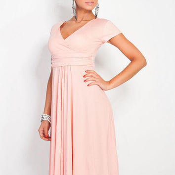 V-Neck Short Sleeve Midi Dress